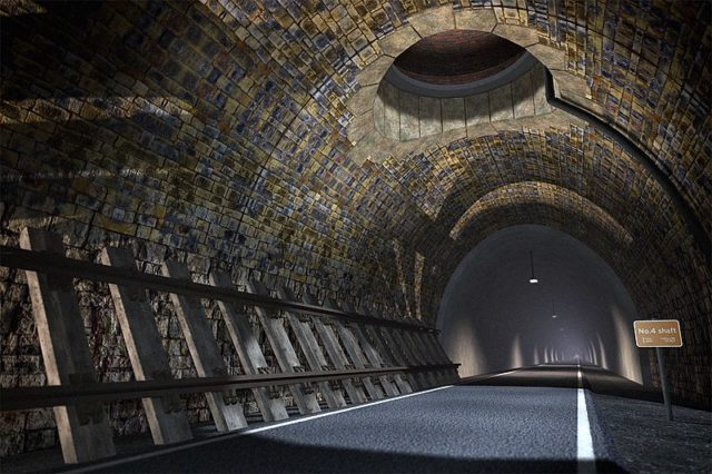 A computer-generated image showing the tunnel after renovation.Author: Four by Three – www.queensburytunnel.org.uk