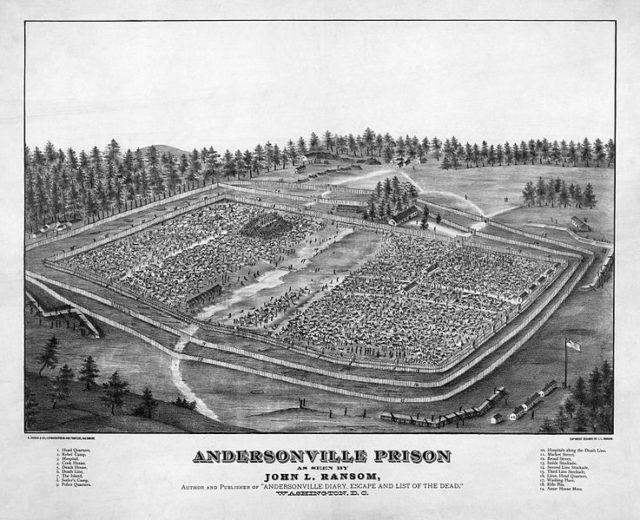 A depiction of Andersonville Prison by John L. Ransom. Author:John L. Ransom