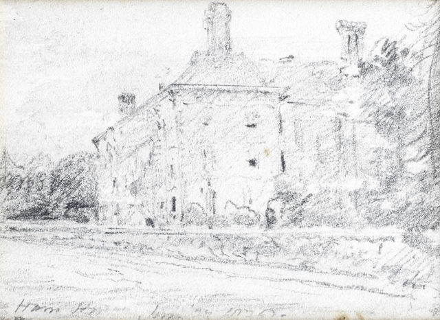 An old drawing of the house. Author:John Constable