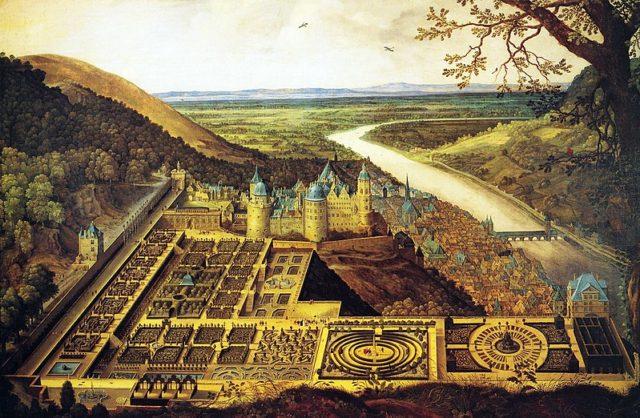Castle & gardens painting. Author:Jacques Fouquier