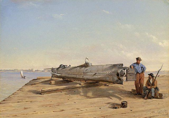 Conrad Wise Chapman Submarine Torpedo Boat H.L. Hunley, Dec. 6, 1863. Author:Conrad Wise Chapman – American Civil War Museum – Chapman Paintings PortfolioPublic Domain