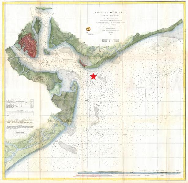 Location of the Hunley submarine. Author:United States Coast SurveyPublic Domain