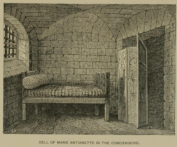 "Marie Antoinette's Cell, old drawing/ Author: Hopkins – Hopkins, Tighe ""The Dungeons of Old Paris"", 1897."