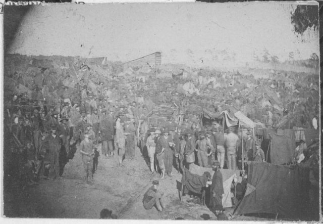 Old photo of the overcrowded prison. U.S. National Archives and Records Administration.