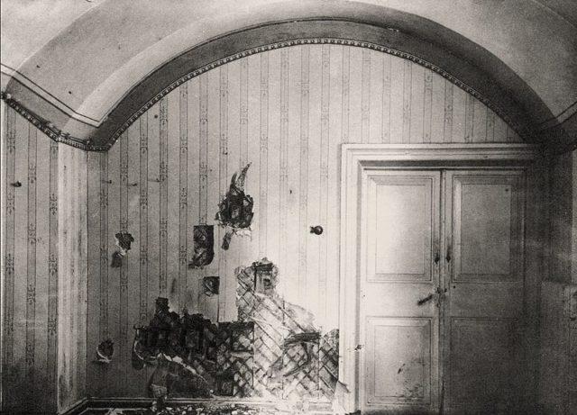 Photo of the cellar where the Romanovs were killed closeup. A