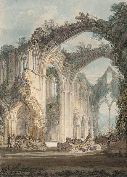 The Chancel and Crossing of Tintern Abbey, Looking towards the East Window by J. M. W. Turner, 1794. Author:J. M. W. Turner – Tate BritainPublic Domain
