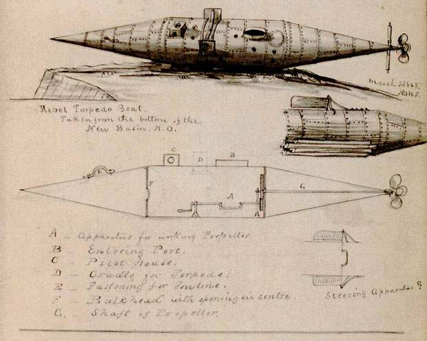 The Confederate submarine Pioneer –by Ensign David M. Stauffer of the Mississippi Squadron, 1865. Author:David M. StaufferPublic Domain