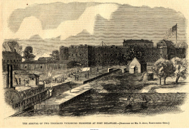 The fort during the American Civil War/ Author:D. Auld – Sketched By D. Auld; Delaware Public Archives