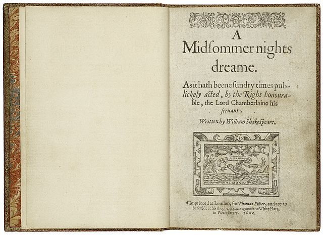 The title page from the first quarto of A Midsummer Night's Dream, printed in 1600. Author: William Shakespeare, Richard Bradock, and Thomas Fisher (printers) – Folger Shakespeare Library Digital Collection – CC BY-SA 4.0