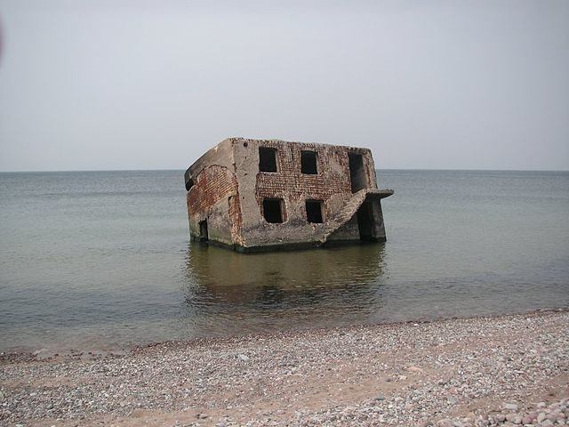 Abandoned fortifications in the Baltic Sea, north of Liepaja
