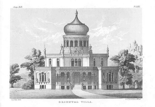 "Sloan's ""Oriental Villa"" as it appeared in his 1852 book, The Model Architect"