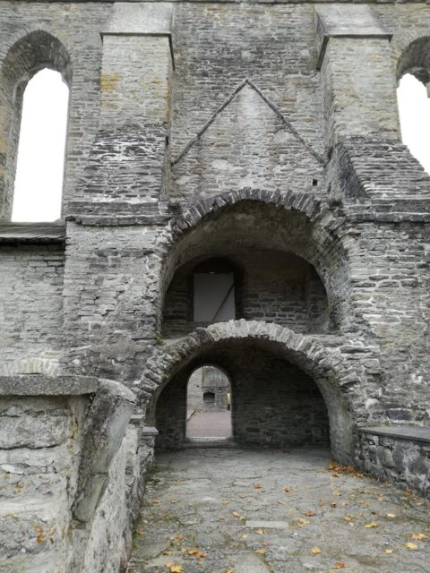 Remains of the arched northern entrance to the cloisters