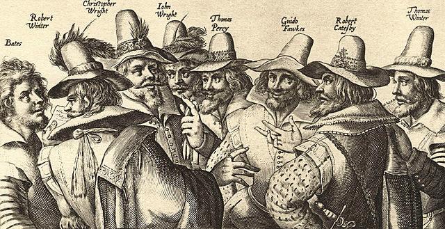 A contemporary engraving of eight of the thirteen Gunpowder Plot conspirators, by Crispijn van de Passe