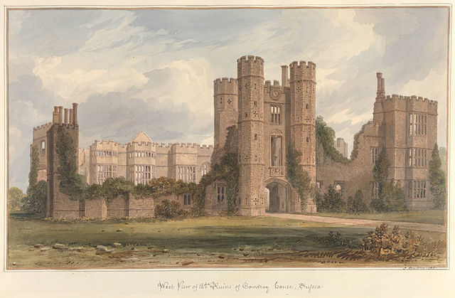 West view of the Ruins of Cowdray House, painting by John Buckler