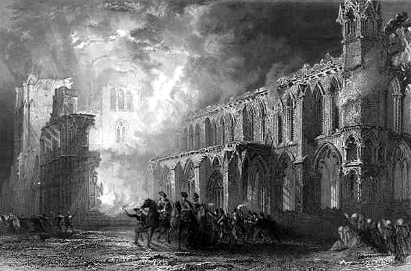 19th-century depiction of the burning of Elgin Cathedral, made by Thomas Allom