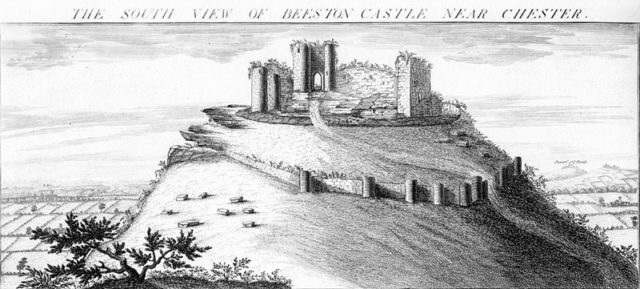 Engraving of 1727 showing Beeston Castle. Author:Buck BrothersPublic Domain