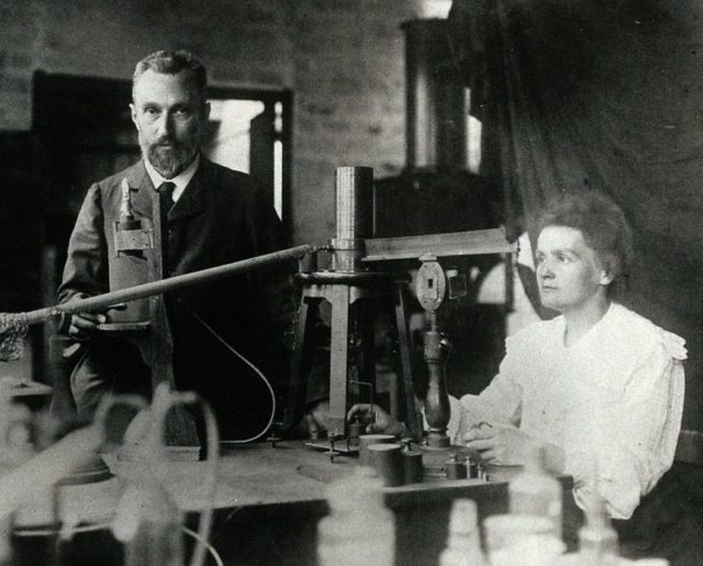 Pierre and Marie Curie in the laboratory.