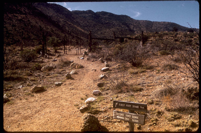 Signs showing the first and second fort. Author:National Park Service Digital Image Archives