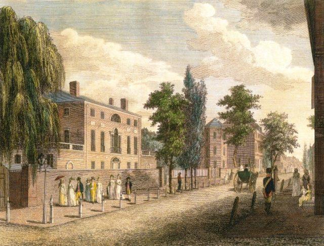View of Third Street, from Spruce Street, Philadelphia (1799) by William Birch. Author:Drawn & Engraved by W. Birch & SonPublic Domain