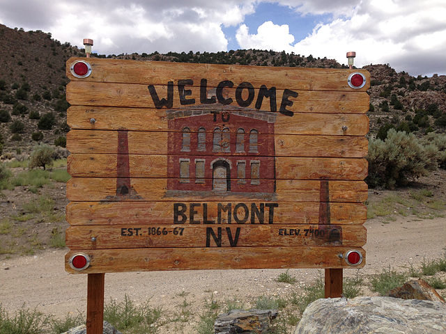 Sign at the entrance to Belmont, Nevada – Author: Famartin – CC BY-SA 4.0