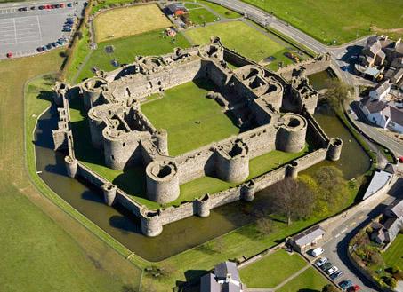 Aerial view of Beaumaris Castle. Author:Cadw –OGL