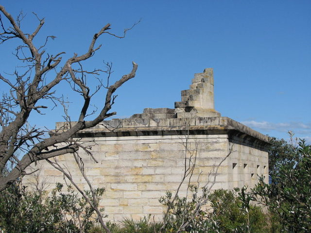 Side view of the Cape St George Lighthouse ruins. Author:Trevar –CC BY-SA 3.0