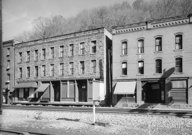 Thurmond, West Virginia, commercial district buildings along railroad tracks.