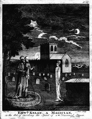 A depiction of John Dee (1527–1608) and Edward Kelley invoking spirits