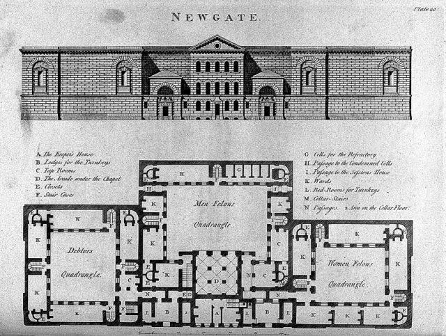 Newgate prison blueprint. Author:Wellcome Collection –CC BY 4.0