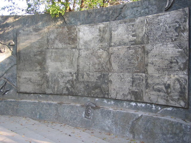 Plaque at Villa Grimaldi with the names of hundreds of people either missing or executed.