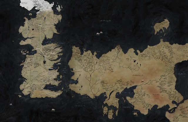 A map of the fantasy world with major locations marked. Sothoryos is not included in this map