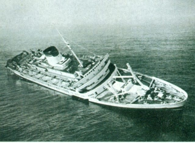 Andrea Doria, part of Italy's transatlantic liner fleet, now lies a battered wreck about 300 miles east of New York