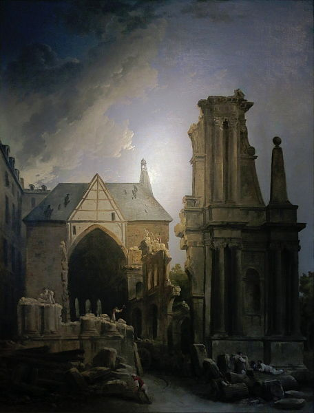 Painting by Hubert Robert depicting the razing of the convent's church.