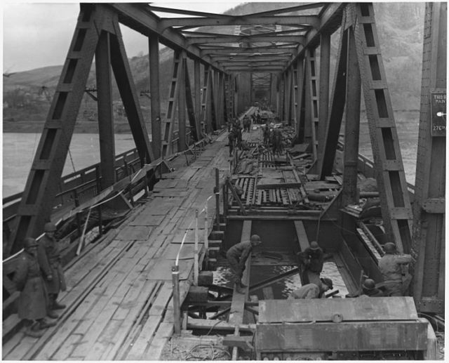 The bridge on March 17, 1945, four hours before it collapsed.