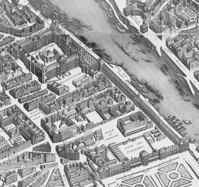 The Tuileries Palace and the Louvre on the 1739 Turgot map of Paris.