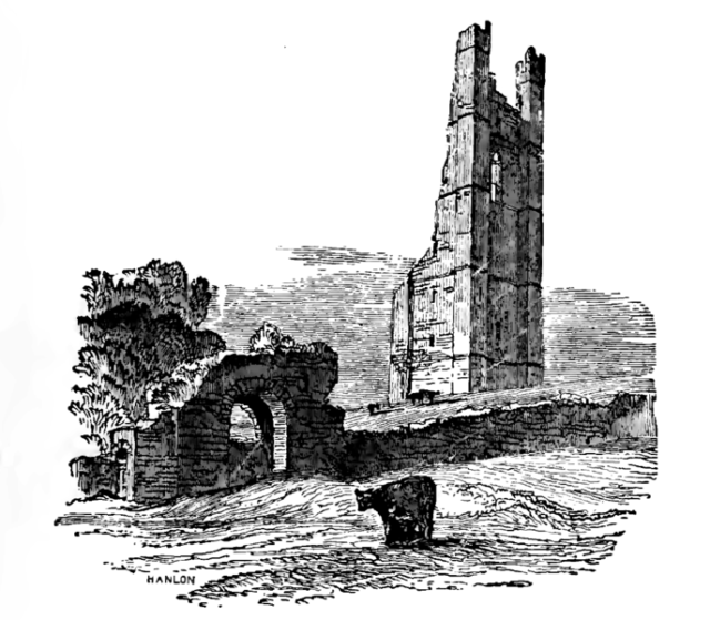 A nineteenth-century sketch of the Yellow Steeple and Sheep's Gate.