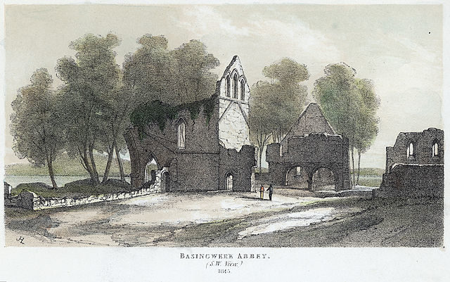 Basingwerk Abbey (1845) from the southwest