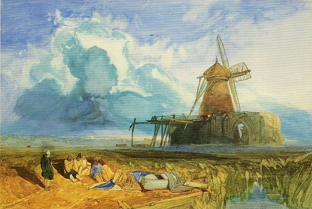 """Postcard of the painting """"St Benet's Abbey, 1831"""" by John Sell Cotman (1783-1842)"""
