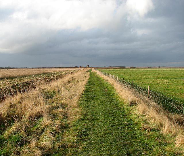 The Brograve Mill Path and the derelict Brograve Mill on the horizon/ Author: Evelyn Simak – CC BY-SA 2.0