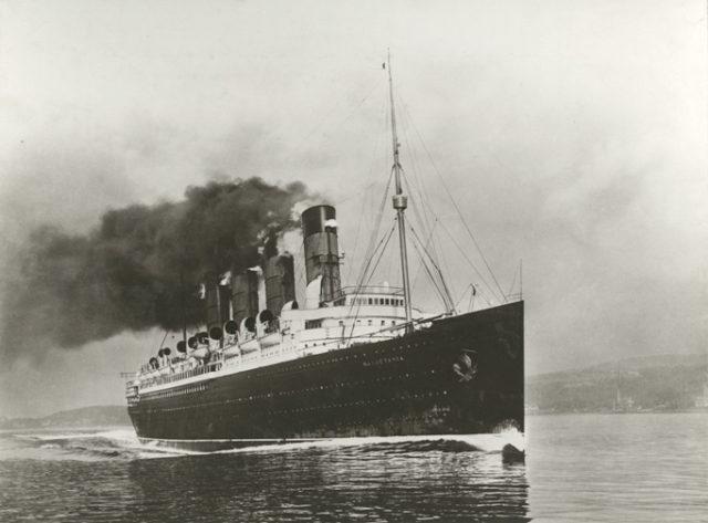 During Mauretania's sea trials.