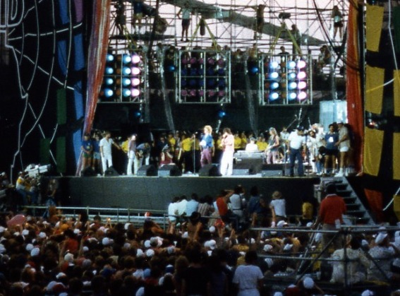 During the Live Aid concert. Author:Squelle –CC BY-SA 3.0