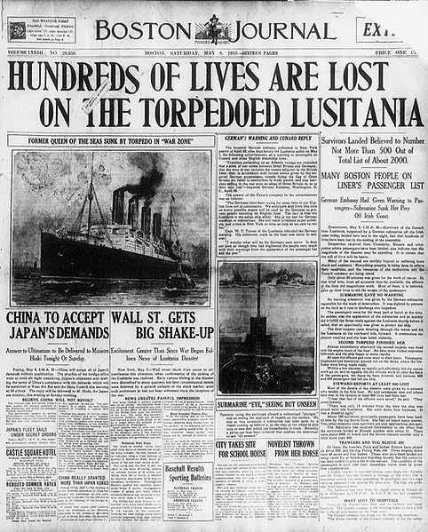 Lusitania makes the headlines.