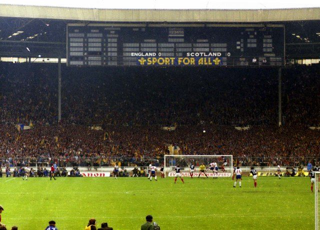 Part of the game England vs Scotland in 1981. Author:Steve Daniels –CC BY-SA 2.0