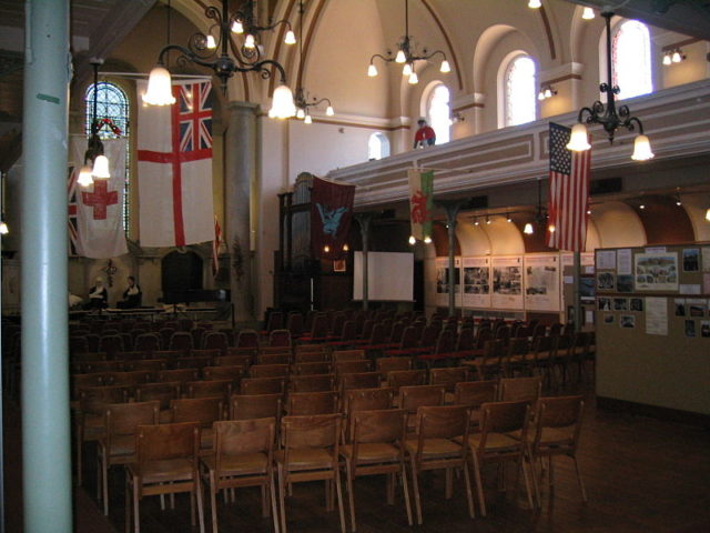 The interior of the chapel, now used as a visitors center. Author:AlanFord