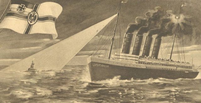 The U-20 sinking of RMS Lusitania. Author: Private Collection – Wartenberg Trust – PD-US