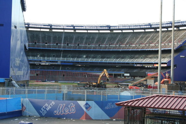 Demolition in progress. Close-up view of the stadium during demolition – Author: edogisgod – CC BY 2.0