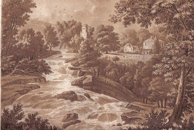 Painting of the Corra Linn waterfalls. Author:Stoddart, John (1803)
