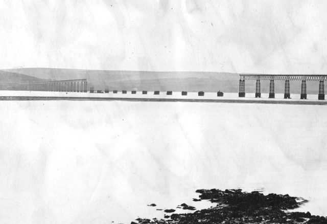 River Tay Bridge, middle section collapsed, photographed in 1880.