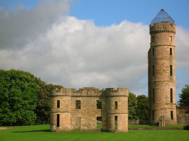 The surviving part of the castle and the tower.
