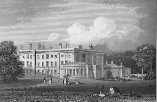 Trentham Hall before the rebuild by Charles Barry, c. 1820.
